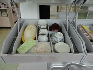 タカラスタンダード レミュー 吊り戸棚 アイラック収納 収納例 天ぷらそば編② 左側 茶碗